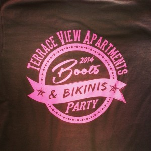Terrace View Apartments – Boots & Bikinis Party. Waterbased discharge printing