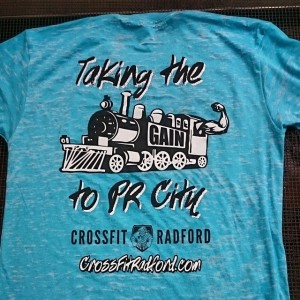 Crossfit Radford – Taking the Gain Train to PR City… Waterbased printing on burnout tees!