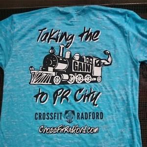 Crossfit Radford – Taking the Gain Train to PR City… Waterbased printing on burnout tees!