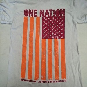 Throwback! One Nation shirts for #gobblerfest. Come on out and win one this Friday! #screenprinting #hokies #virginiatech