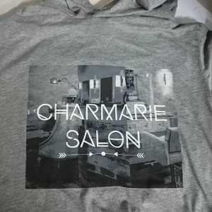 Charmarie Salon – waterbased printing #screenprinting #waterbased