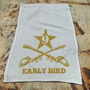 Early Bird rally towels – waterbased screen printing #waterbased #screenprinting
