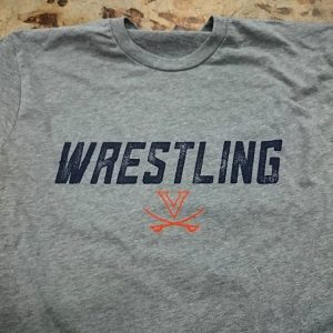 Virginia Wrestling – waterbased discharge screen printing on poly cotton blends #screenprinting #waterbased #matsuicolor #wrestling #uva