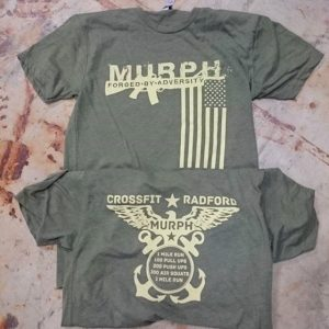 Crossfit Radford Memorial Day Murphy – Waterbased discharge printing on triblend tees #screenprinting #waterbased #matsuicolor #crossfitradford #crossfit