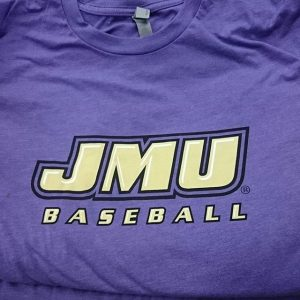 JMU Baseball waterbased discharge inks on poly cotton blends #screenprinting #waterbased #matsuicolor