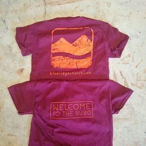 Blue Ridge Church – Welcome to the Burg tshirts for Gobblerfest #screenprinting #waterbased #matsuicolor #blacksburgva #blueridgechurch