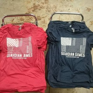 Guardian Games competition shirts – performance blend tees with waterbased inks #waterbased #screenprinting #matsuicolor #crossfitradford #guardiangames