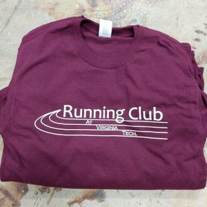 Running Club at Virginia Tech waterbased discharge screen printing = super soft shirts. #screenprinting #waterbased #matsuicolor #blacksburgva