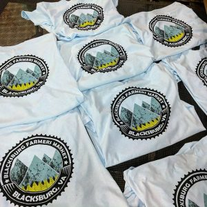 More Blacksburg Farmers Market shirts! Waterbased printing #farmtotable #farmersmarket #buylocal #blacksburgva #screenprinting #waterbased #matsuicolor